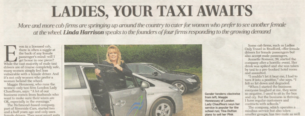 telegraph article about female taxi drivers becoming popular
