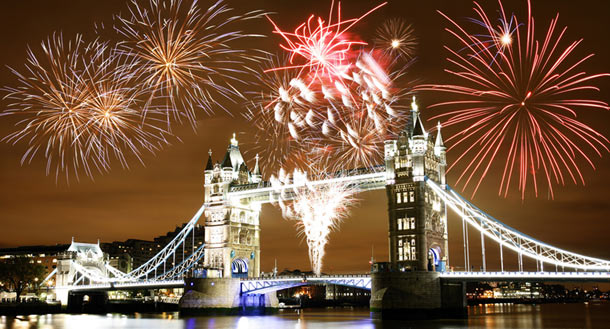 fireworks over tower bridge in london