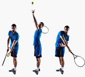 3 images of tennis player playing