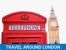 travel around london message with telephone box and big ben in the picture